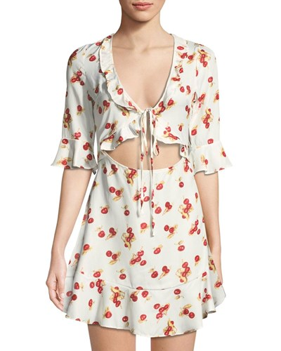 Haute Rogue Cherry Print Tie Front Mini Dress White Tfc30eKHY
