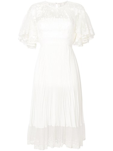 Three floor Shadow Gathered Lace And Pleat Dress Cotton Polyamide Polyester White t6PV0Fkr1b