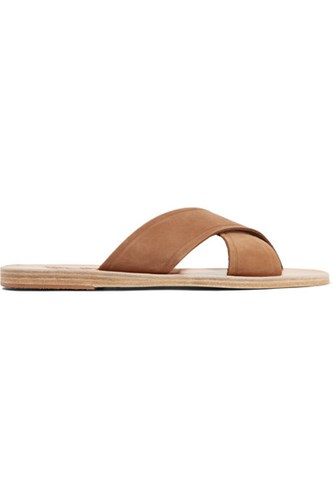 Ancient Greek Sandals Thais Suede And Leather Slides Light Brown CcqkUhAVA