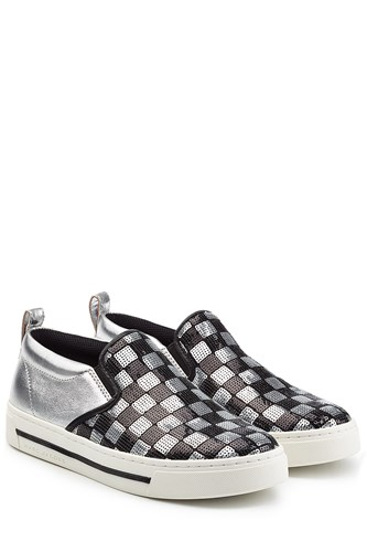 Marc Jacobs Leather Slip On Sneakers With Sequins Silver eEGUt46