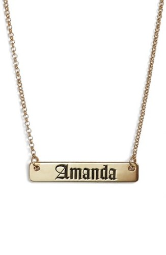 'S Argento Vivo Personalized English Font Bar Necklace Silver