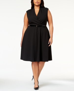Calvin Klein Plus Size Belted A Line Dress Black FxWrMErQ