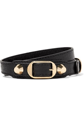 Arena Textured Leather And Gold Tone Bracelet Black