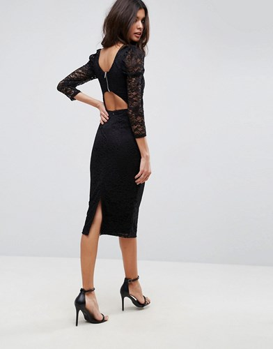 Asos Lace Midi Dress With Puff Sleeve And Cut Out Back Black TKBfa3zV