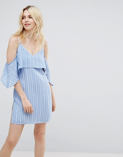 A State Of Being Unknown Cold Shoulder Dress Blue White r7yFXb5