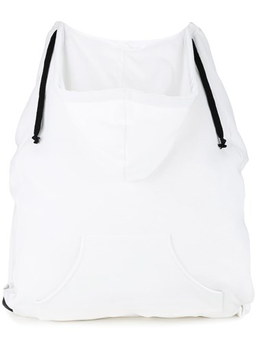 Mm6 Drawstring Hooded Backpack Women Cotton One Size White
