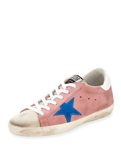 Golden Goose Superstar Suede Low Top Sneaker Pink White Blue GonwY5Zs3n