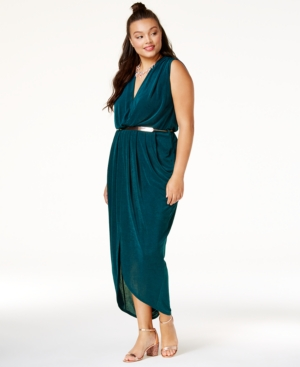 City Chic Trendy Plus Size Belted Jersey Dress Teal mWUyou