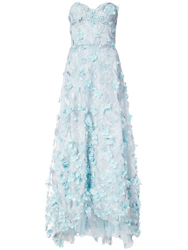 Marchesa Notte Floral Appliqued Lace Gown Nylon Silk Polyester Blue aAev9