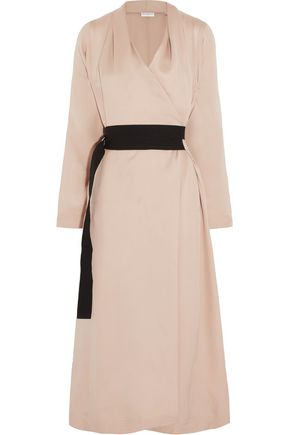Amanda Wakeley Katrine Belted Wrap Effect Silk Chiffon Midi Dress Blush pcunB