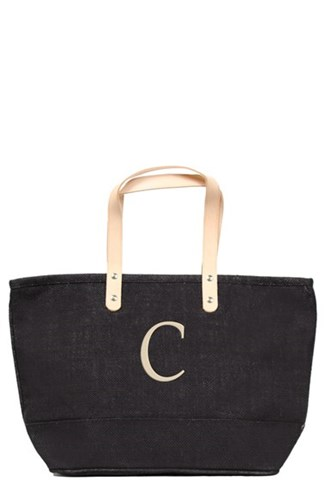 Cathy's Concepts 'Nantucket' Personalized Jute Tote Black Black C sG88udmim