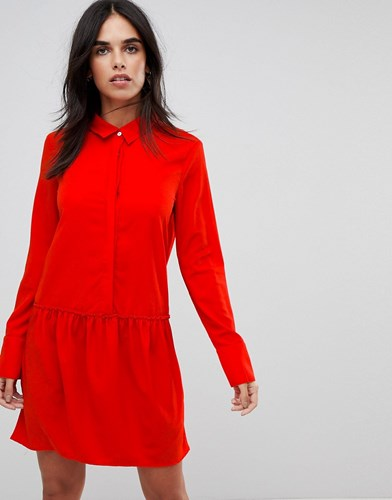 Vila Drop Waist Shirt Dress Formula 1 Racing Red RhJUX
