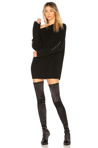 Kendall Dress Kylie Off Black Shoulder Sweater 77YIqrw