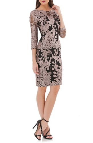 Stone Black Cocktail JS Women's Lace Dress Collections Embroidered wxwznqFA