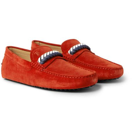 Tod's Gommino Leather Trimmed Suede Driving Shoes Tomato Red nDz1xOPjP