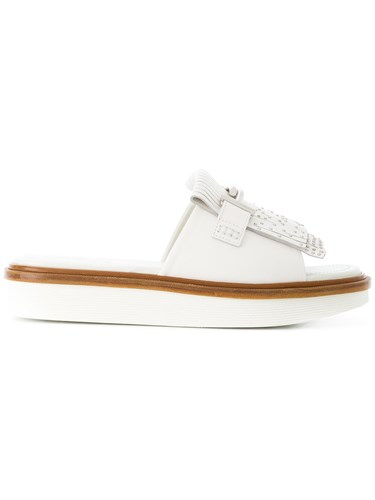 Double Fringed Sliders Tod's White T xvwFqqgn0