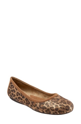 SoftWalkR Women's Softwalk 'Napa' Flat Metallic Leopard Leather QJwkG06sjg