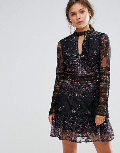 Liquorish Floral Ditsy Print Lace Dress Black HwDjj