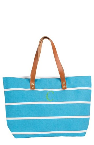 Cathy's Concepts Monogram Stripe Tote Blue nuZoQOa