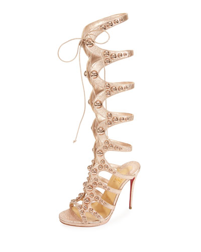 Christian Louboutin Amazoutiful 120Mm Leather Gladiator Red Sole Sandal Rose nG6iFjr