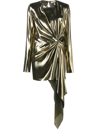 Saint Laurent Asymmetric Draped Mini Dress Metallic gvtlUtj