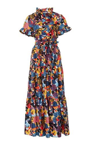 La Doublej Long And Sassy Ruffled Cotton Dress Print YH4wI2CT