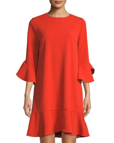 Dress LABEL five 4 Shift Sleeve twelve Red 3 Ruffle Trim by Orange qwq4gSx6