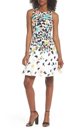 Maggy London Printed Fit And Flare Dress Soft White Multi QEp6rp8g2