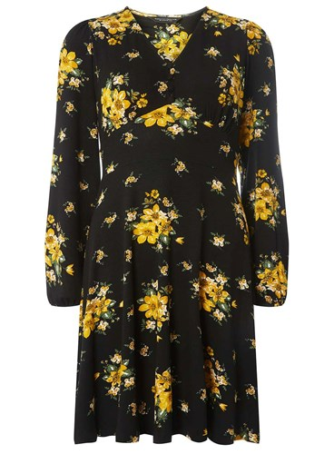 Print Fit And Black Dorothy Flare And Yellow Perkins Dress Floral SwYv6Xgq