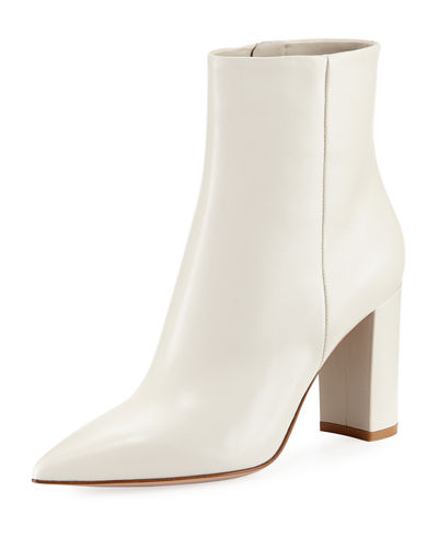 Gianvito Rossi 85Mm Point Toe Leather Bootie White nzVmQW3N