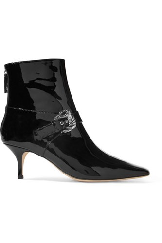 Dorateymur Saloon Buckled Patent Leather Ankle Boots Black V5r7X
