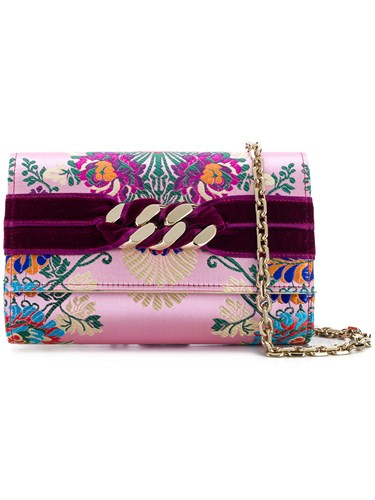 Casadei Chunky Chain Jacquard Clutch Pink And Purple SSqHEbT