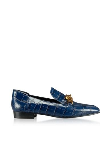 Tory Burch Shoes Jessa Royal Navy Croco Embossed Leather Loafers W Goldtone Horse Hardware xcFAW