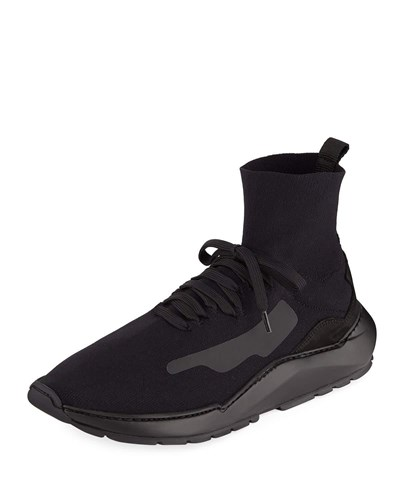 Filling Pieces Mid Top Knit Arch Running Sneaker Black pailoUo
