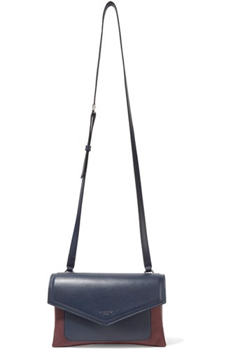 Givenchy Duetto Two Tone Smooth And Textured Leather Shoulder Bag Navy yQXlVDzF1O