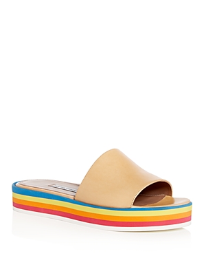 Tabitha Simmons Women's Sophia Platform Slide Sandals Light Beige Rainbow 4umqF