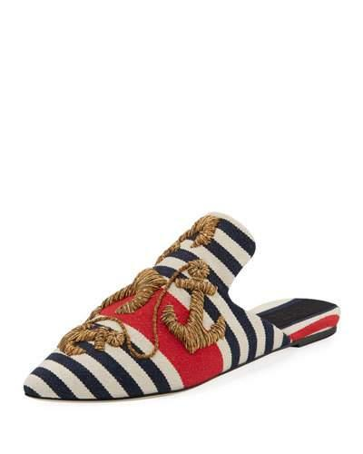 Sanayi313 Striped Anchor Embroidered Mule Red Blue RKi6Az
