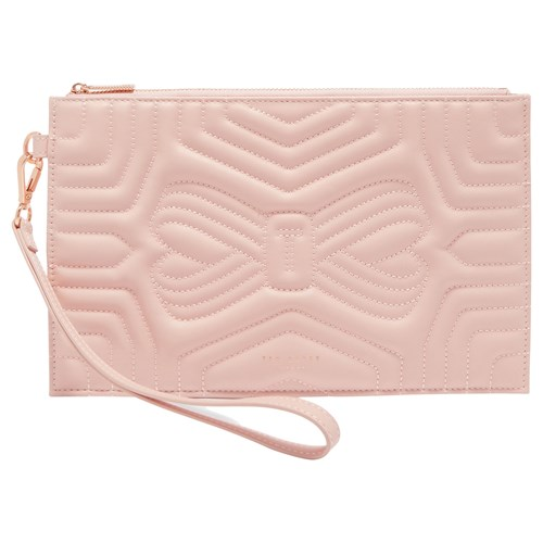 Ted Baker Verda Quilted Leather Wristlet Pouch Light Pink JgVwn1Ah