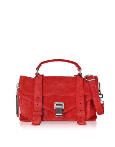 Proenza Schouler Handbags Ps1 Tiny Cardinal Red Suede Satchel Bag Q27u6