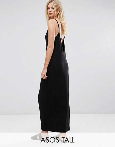 Black With Dress Tall V Asos Maxi Back qafwYxq6z
