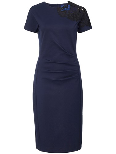 Winser London Guipure Lace Miracle Dress Midnight Navy V8d3V