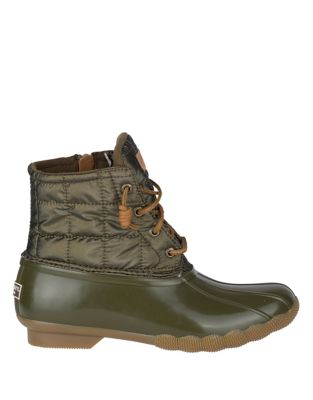 Sperry Saltwater Shiny Quilted Booties Dark Olive rmjHoFG