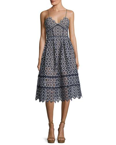 Self-Portrait Sweetheart Azaelea Lace Fit And Flare Tea Length Cocktail Dress Blue AehSR