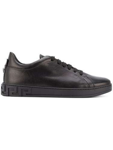 Versace Monotone Low Top Sneakers Men Calf Leather Leather Rubber 39.5 Black N7UNHkUwts