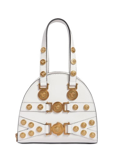 Versace Small Tribute Leather Top Handle Bag White aJ11D