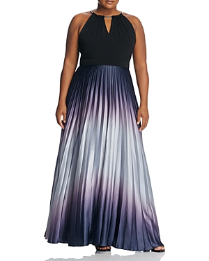 City Chic Pleated Ombre Maxi Dress Grey Smoke LgP6Me