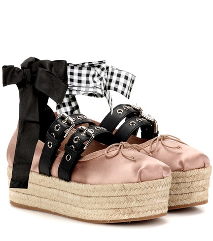 Miu Miu Satin And Leather Platform Ballerinas Pink XEjxRha