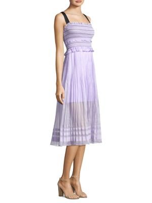 Three floor Smocked Midi Dress Lilac 8ZzbtZk1