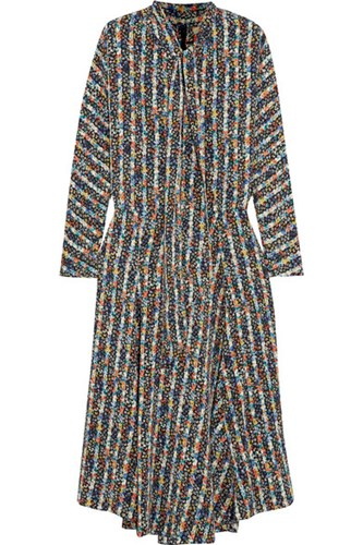 Vanessa Bruno Hevi Pussy Bow Printed Crepe Midi Dress Navy Usd x1DxC5tUF