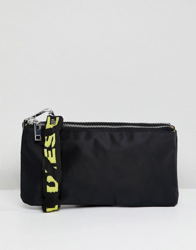 Diesel Crossbody Bag With Logo Chain Strap Black tcgKhu